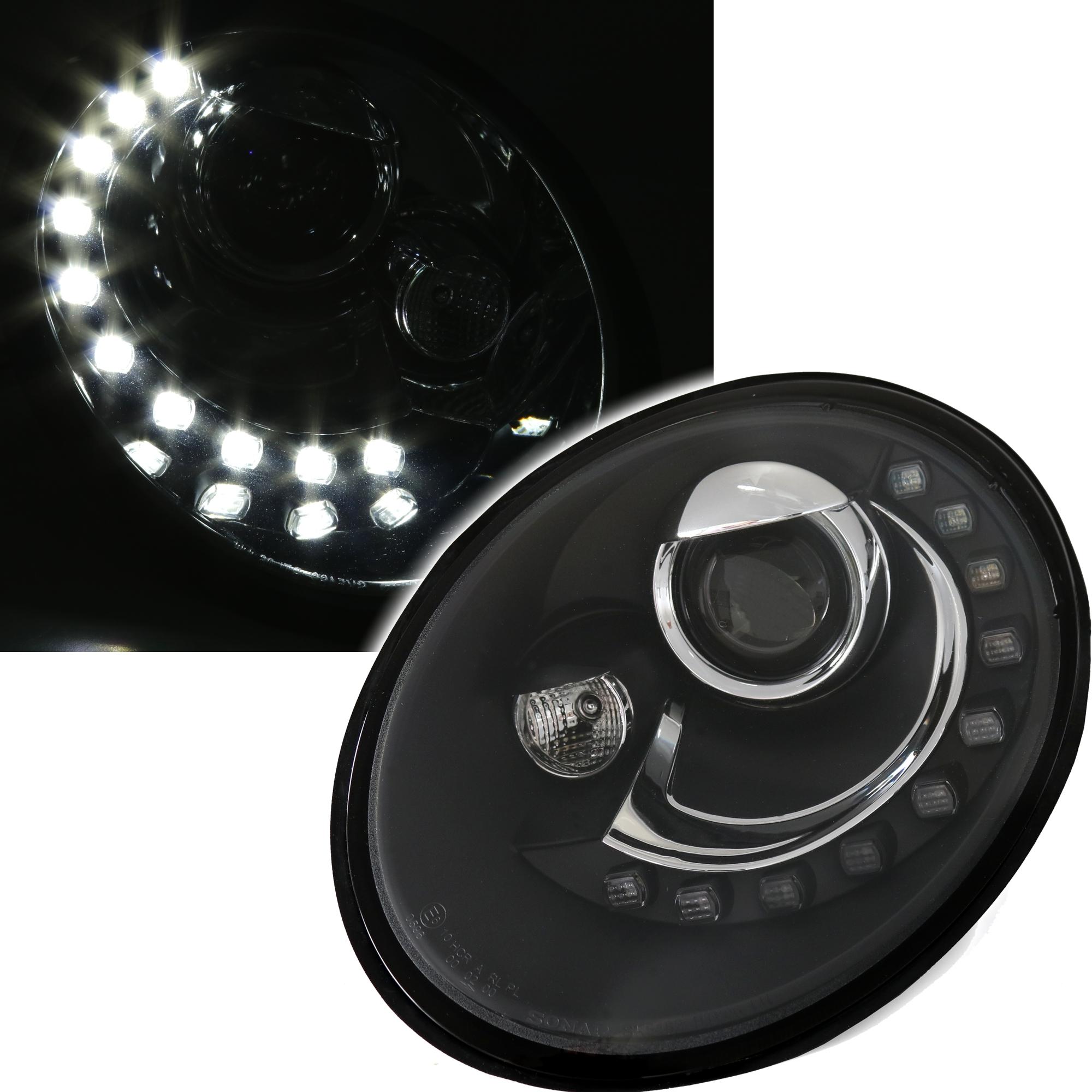 scheinwerfer vw new beetle 9c 1y 97 05 schwarz led. Black Bedroom Furniture Sets. Home Design Ideas