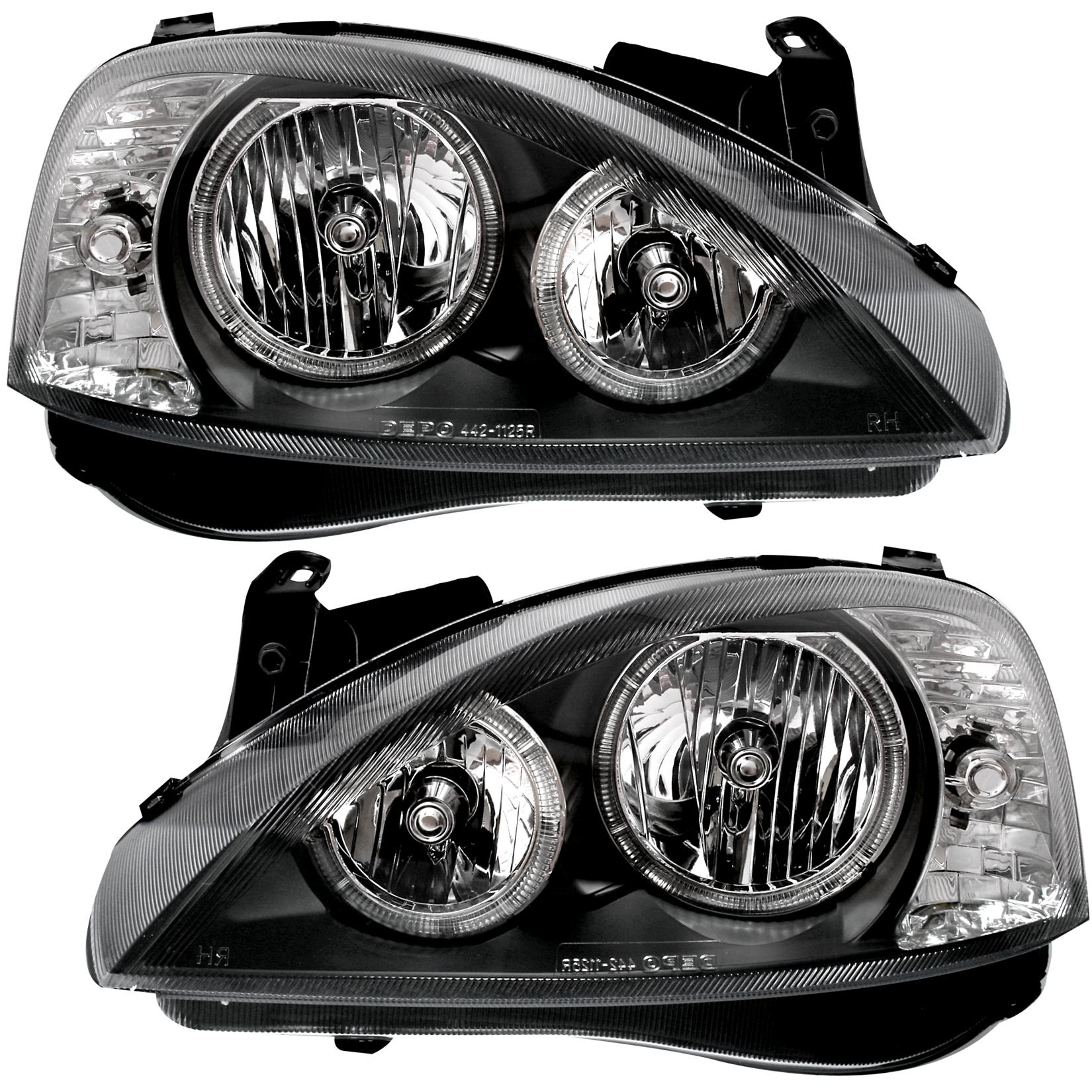 Angel Eyes Scheinwerfer Opel Corsa C 00-06 in Schwarz H7 links rechts Klarglas
