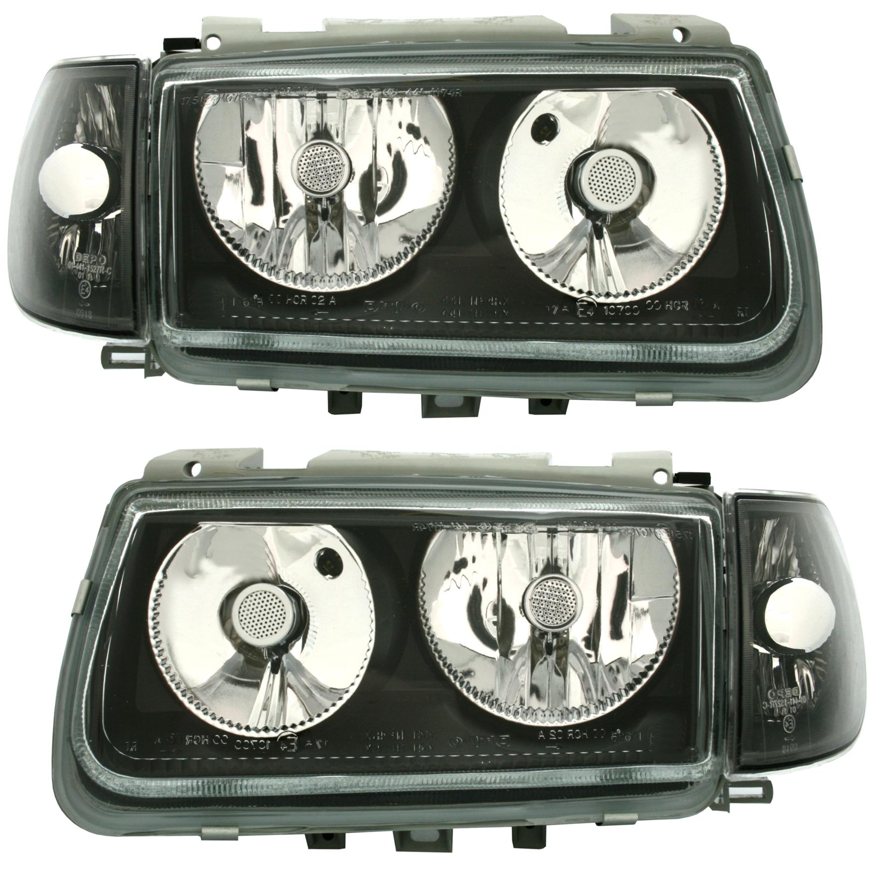 vw polo 6n 94 99 scheinwerfer blinker set schwarz. Black Bedroom Furniture Sets. Home Design Ideas