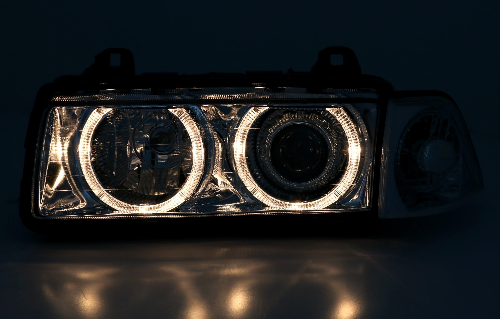 bmw e36 scheinwerfer angel eyes coupe cabrio klarglas. Black Bedroom Furniture Sets. Home Design Ideas