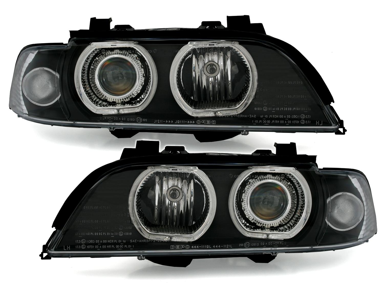 5er bmw e39 angel eyes scheinwerfer set von depo wei e led. Black Bedroom Furniture Sets. Home Design Ideas