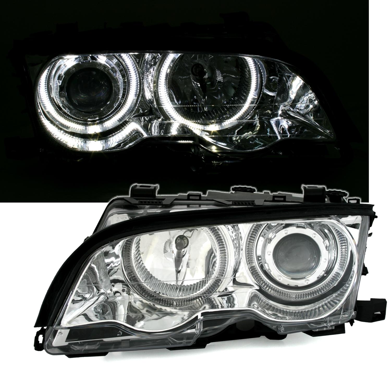 Frontscheinwerfer Cabrio Angel Eyes Scheinwerfer Set Mit Weissen Ringen Fur 3er Bmw E46 Coupe Auto Motorrad Teile Hodzex Ba