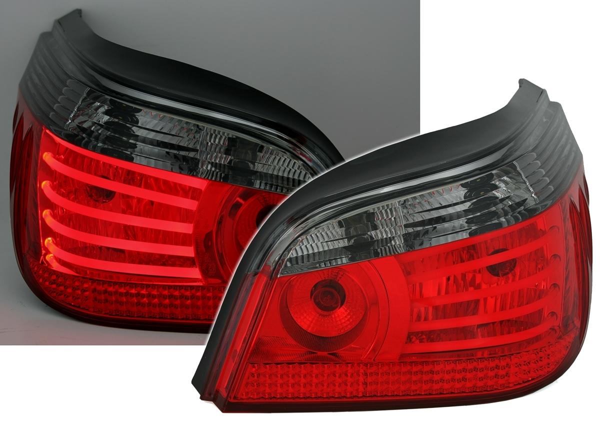 Rückleuchten Set in Rot-Smoke für 5er BMW E60 Limo mit LED LIGHTSTRIPES